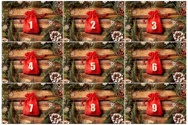 Front view advent calendar with numbers on Free Photo