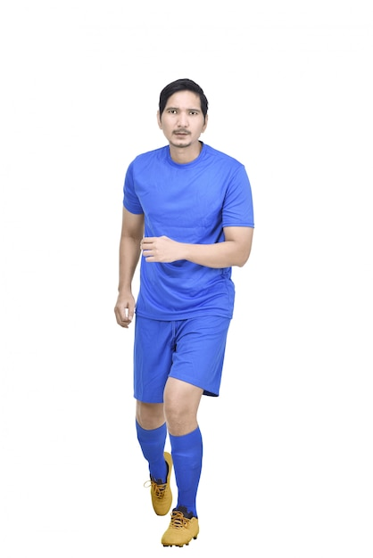 Front view of asian soccer player with blue jersey Premium Photo