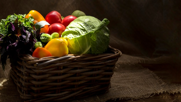 Front view assortment of fresh autumnal vegetables Free Photo