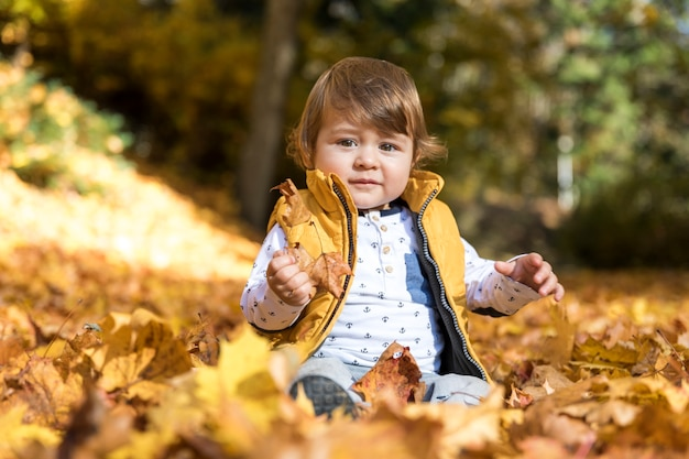 Front view baby sitting in the leaves Free Photo