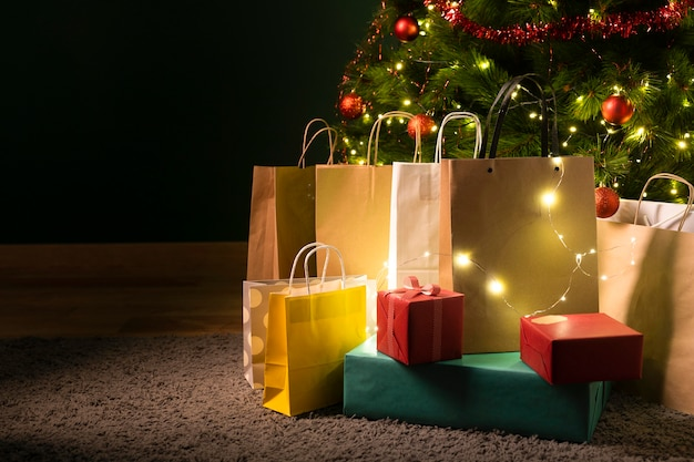 Front view of beautiful christmas gifts Free Photo
