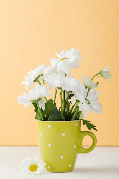 Front view blooming flowers on vase Free Photo