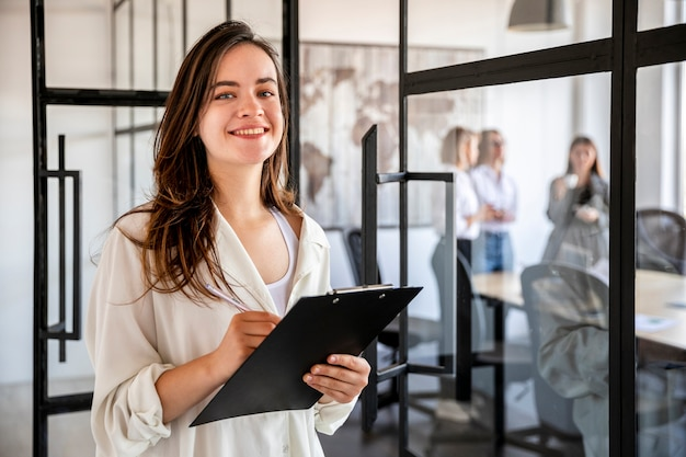 Front view business woman at office Free Photo