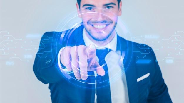 Vista frontale dell'uomo d'affari e della tecnologia Foto Gratuite