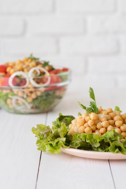 Front view of chickpeas beans concept Free Photo