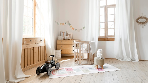 Front view of child room with rustic interior design Free Photo