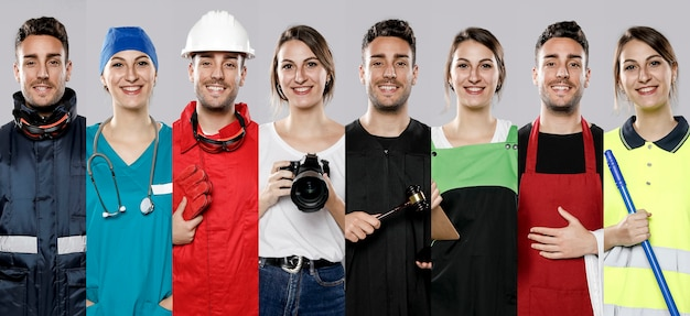 Front view of collection of men and women with different jobs Premium Photo