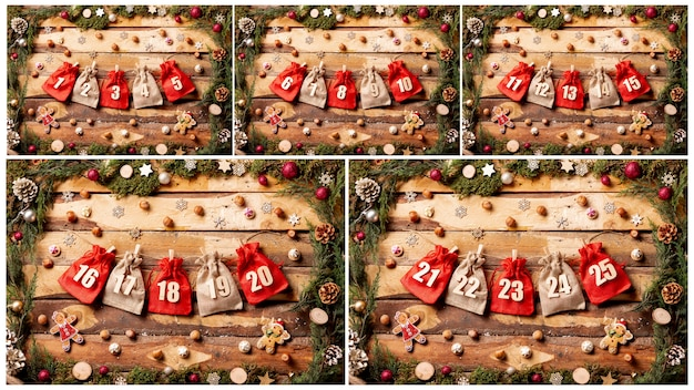 Front view colorful collection of advent calendar Free Photo
