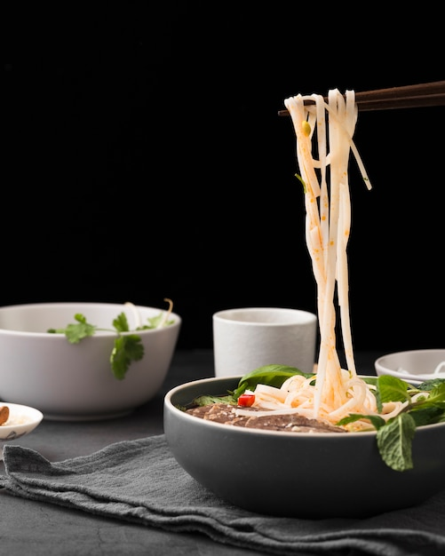 Front view of cooked noodles in bowl with mint Free Photo