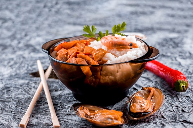 Front view delicious asian rice dish Free Photo