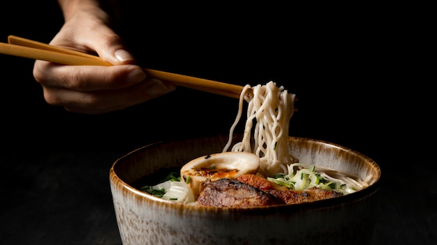 Front view of delicious ramen with copy space Free Photo