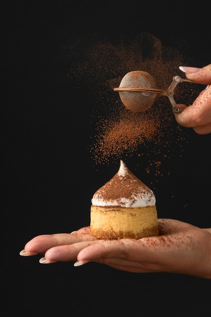 Vista frontale del dessert con cacao in polvere Foto Gratuite