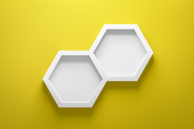 Front view of empty shelf and hexagon frame on vivid yellow wall Premium Photo
