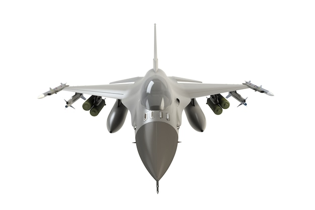 Front view of f16, american military fighter plane on white