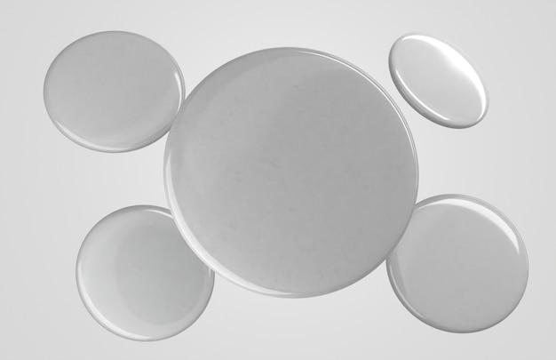 Distintivi bianchi in bianco 3d di volo di vista frontale Foto Gratuite