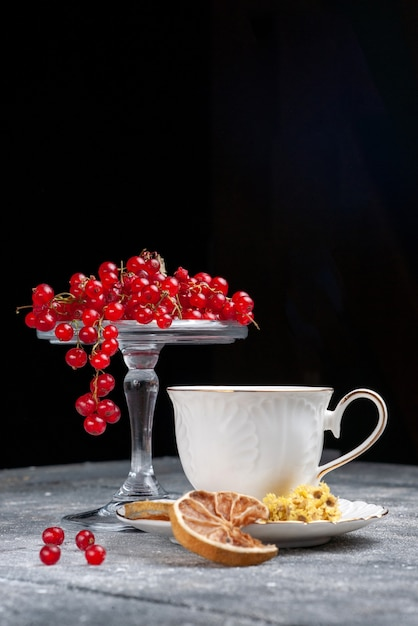 Front view fresh red cranberries with cup of coffee on the light desk fruit berry coffee lemon Free Photo