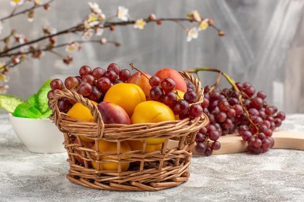 正面図白い机の上のブドウと一緒にバスケットの中に梅と新鮮な甘いアプリコット 無料写真