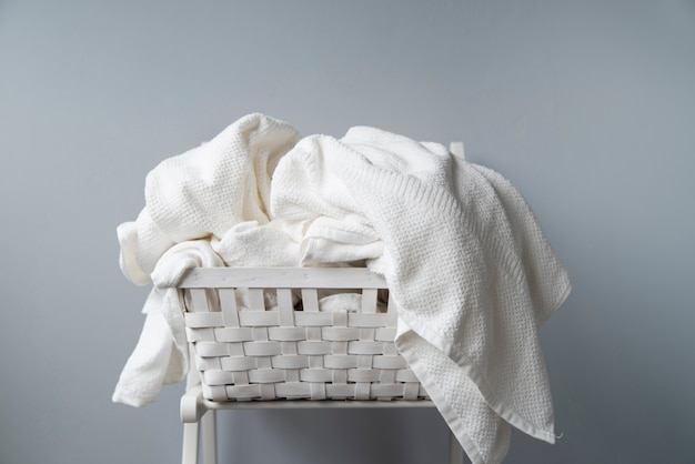 Front view full laundry basket Free Photo