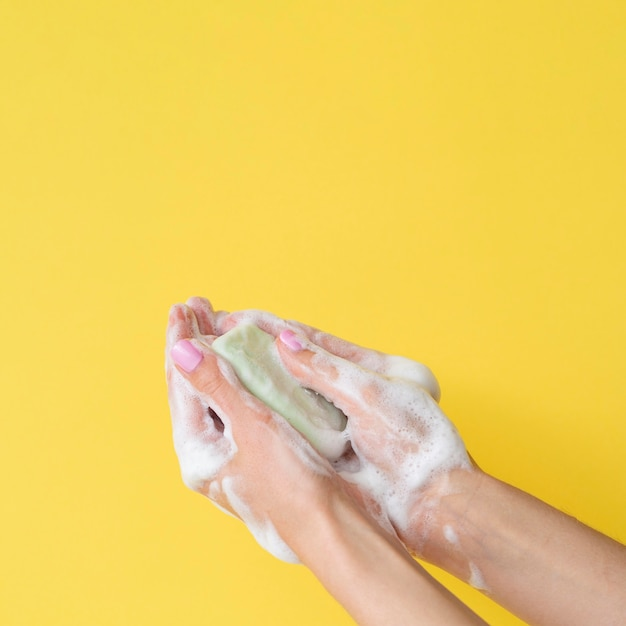 Front view of hands washing with soap and copy space Premium Photo