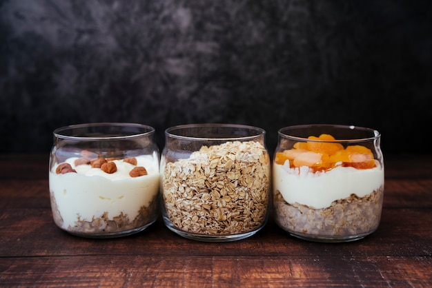 Front view healthy breakfast assortment Free Photo