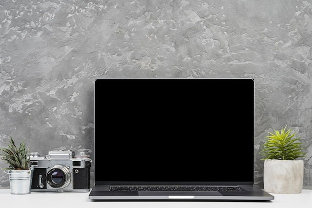 Front view laptop with plants and camera Free Photo