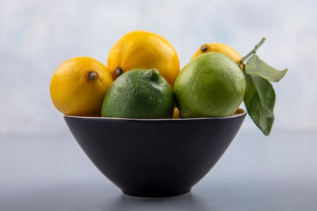 Front view limes and lemons in a black bowl on gray background Free Photo