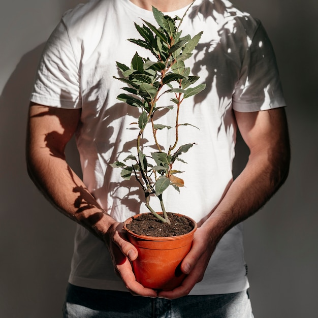 Front view of man holding pot with plant Free Photo