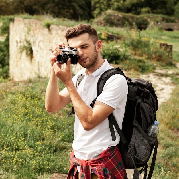 Вид спереди человек фотографировать Бесплатные Фотографии