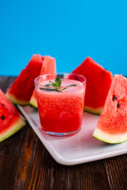Front view natural watermelon glass with juice Free Photo