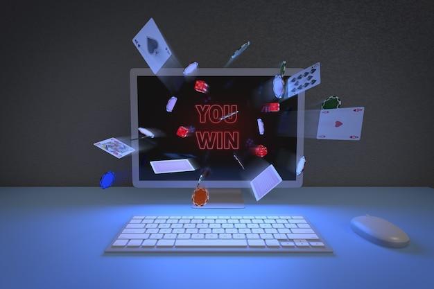 コンピューターのモニターから出てくるチップ、カード、サイコロの正面図。オンラインゲームのコンセプト。 Premium写真