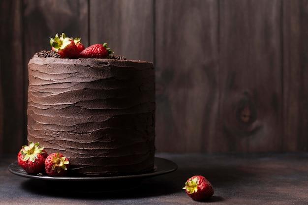 チョコレートケーキコンセプトの正面図 無料写真