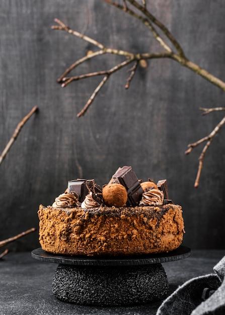 Вид спереди шоколадного торта на подставке с копией пространства Бесплатные Фотографии