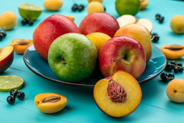水色の表面にアプリコットライムと黒スグリのプレートで着色されたリンゴの正面図 無料写真