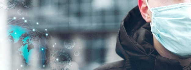Вид спереди концепта ковид-19 Premium Фотографии