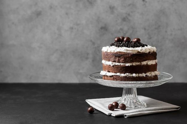 맛있는 케이크 개념의 전면보기 무료 사진