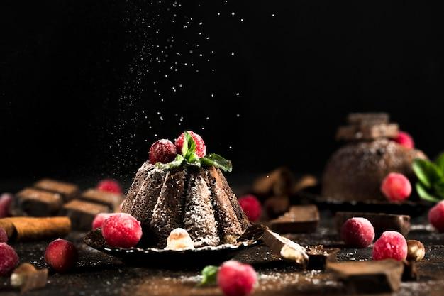 Вид спереди вкусного шоколадного торта Premium Фотографии