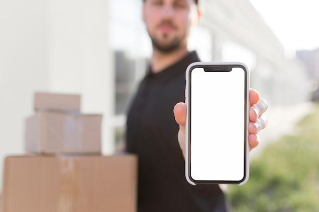 Вид спереди доставщик с копией spce Бесплатные Фотографии