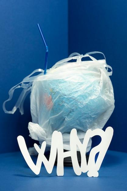 なぜプラスチックで覆われた地球の正面図 無料写真