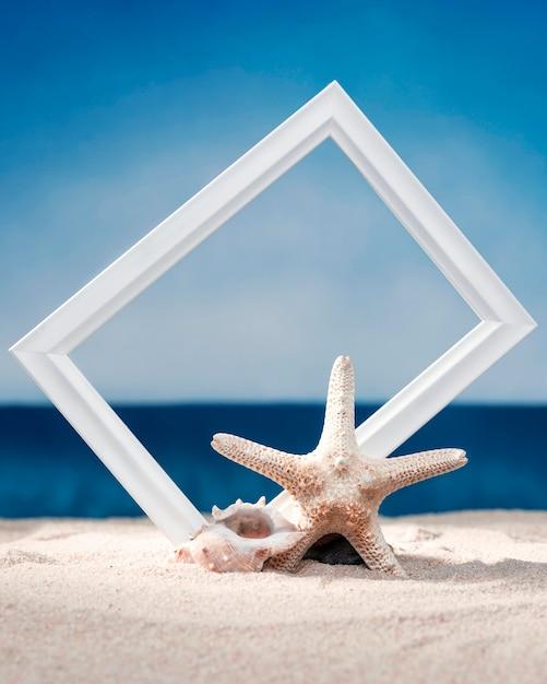 海のシェルとヒトデとビーチでフレームの正面図 Premium写真