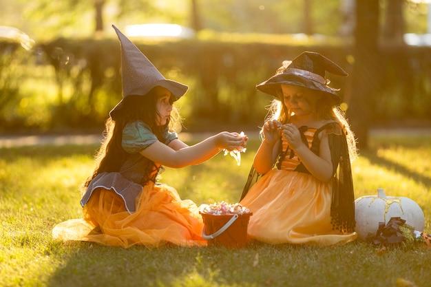 Вид спереди маленьких девочек на природе Бесплатные Фотографии