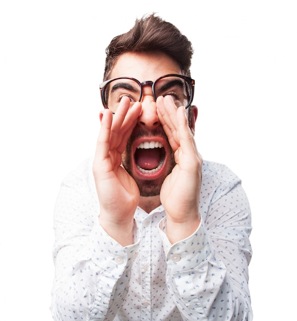 front view of man with hands on face screaming photo free download