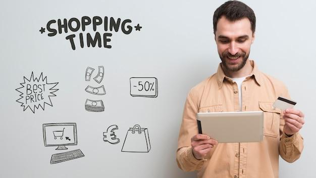 Вид спереди человека с покупками концепции Бесплатные Фотографии