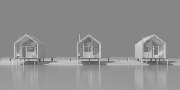 Вид спереди на передний фасад нескольких сельских домов в стиле амбар, выстроенных у озера. концепт-арт в серых тонах с вечерним теплым и холодным освещением с копией пространства Premium Фотографии