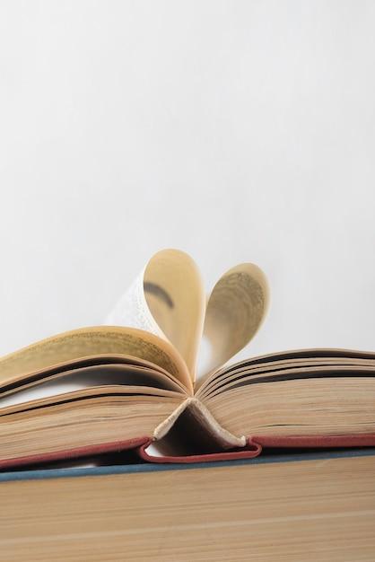 Vista frontale del libro aperto con copia spazio Foto Gratuite