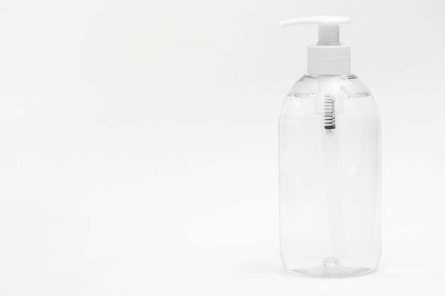 Front view of plastic bottle with liquid soap and copy space Free Photo