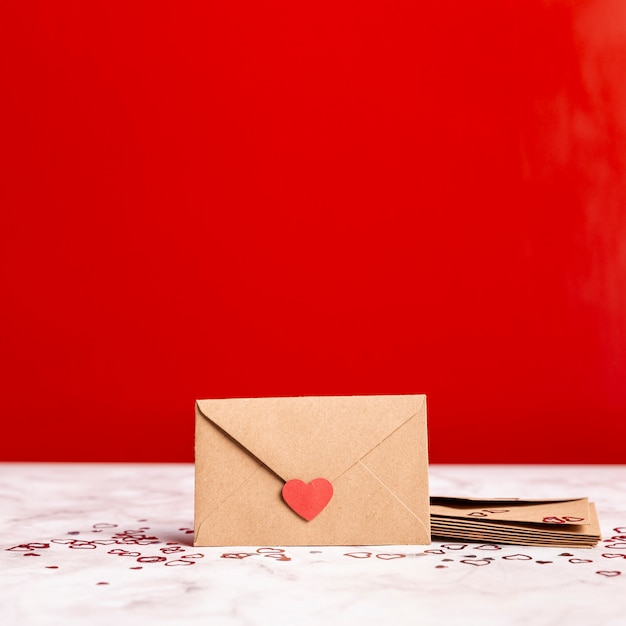 Front view of romantic envelope Free Photo