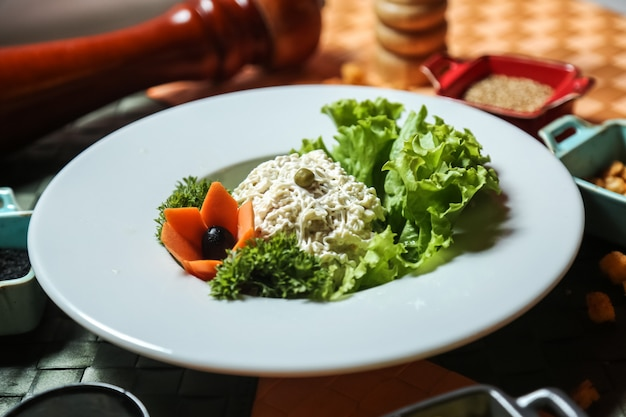 Front view salad with mayonnaise lettuce and carrots as ...