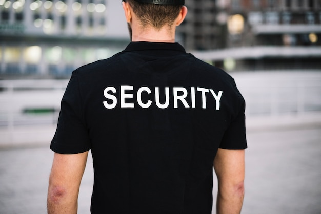 Front view security man close-up Free Photo