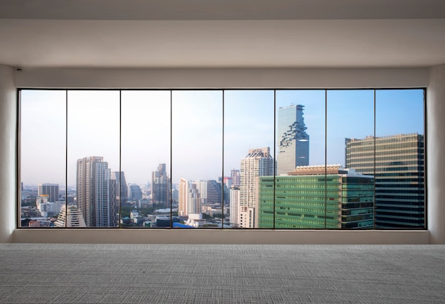 Front view skyscraper modern interior with city view from empty office Premium Photo