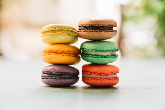 Front view stacked macarons Free Photo